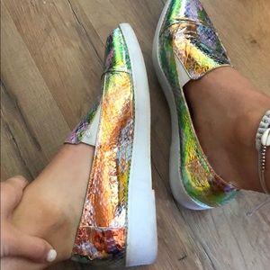 Snakeskin holographic slip on sneakers ASOS